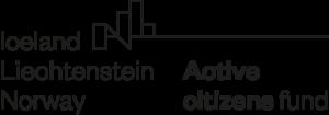 Aktiivsete Kodanike Fondi logo. Logo vasakul poolel on ülevalt alla kirjas Iceland, Liechtenstein, Norway ja logo paremal allosas Active citizens fund. Logo ülaosas on neli ristkülikut, neid läbib pikk joon.