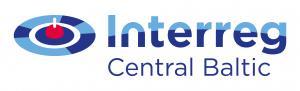 Interregi logo. Sinipunane maakera kujutis, millel on ümber sinine ring